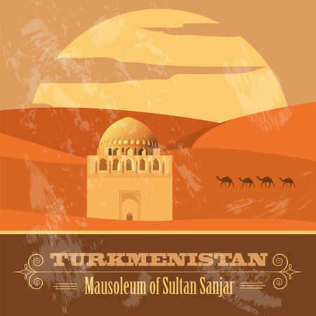 Turkmenistan landmarks. Retro styled image. Vector illustration