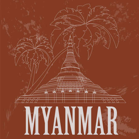 stupa: Myanmar (Burma)  landmarks. Retro styled image. Vector illustration