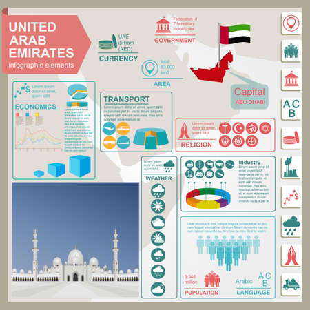 Infografía Emiratos Árabes Unidos, datos estadísticos, de las vistas. Ilustración vectorial