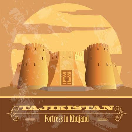 tajikistan: Tajikistan landmarks. Retro styled image. Vector illustration