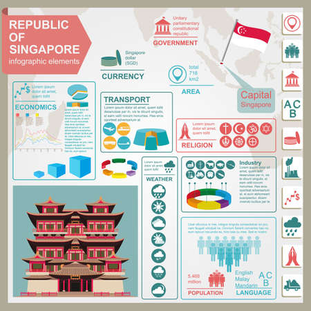 Singapore  infographics, statistical data, sights. Vector illustration