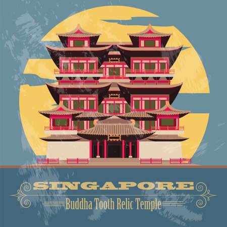 artefact: Singapore landmarks. Retro styled image. Vector illustration Illustration