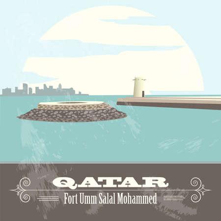 umm: Qatar. Retro styled image. Fort Umm Salal Mohammed. Vector illustration Illustration