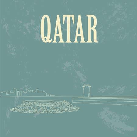 mohammed: Qatar. Retro styled image. Fort Umm Salal Mohammed. Vector illustration Illustration