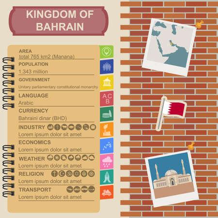 sights: Bahrain  infographics, statistical data, sights. Vector illustration