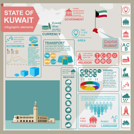 Kuwait  infographics, statistical data, sights. Palace Arantar lakeside Farakh. Vector illustration