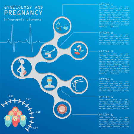pregnancy: Gynecology and pregnancy infographic template. Motherhood elements. Constructor for creating your own design, infographics. Vector illustration