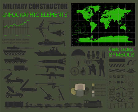 military and war icons: Military infographic template. Vector illustration with Top powerful militaries ranking. World nuclear powers map. Interesting facts about world wars. Constructor. Template with place for text