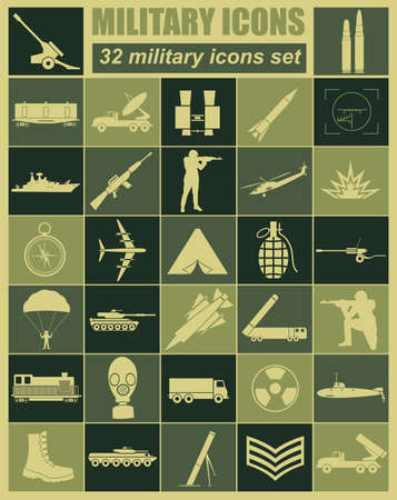 military aircraft: Military icon set. Constructor, kit. Vector illustration Illustration
