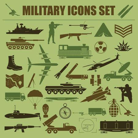 tanque de guerra: Conjunto de iconos Militar. Constructor de kit. Ilustración vectorial