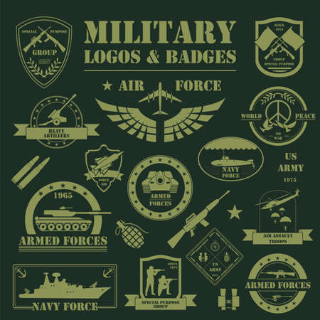 army: Military and armored vehicles logos and badges. Graphic template. Vector illustration