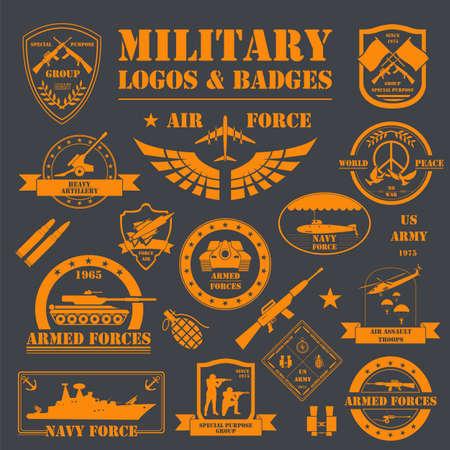 Logos et insignes de véhicules militaires et blindés. Modèle graphique. Illustration vectorielle Logo