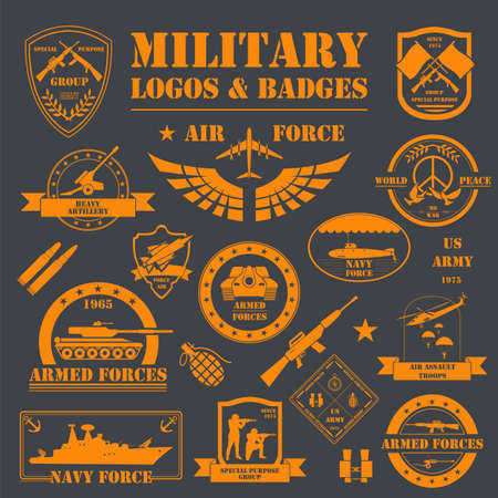 air war: Military and armored vehicles logos and badges. Graphic template. Vector illustration
