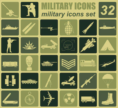 military and war icons: Military icon set. Constructor, kit. Vector illustration Illustration