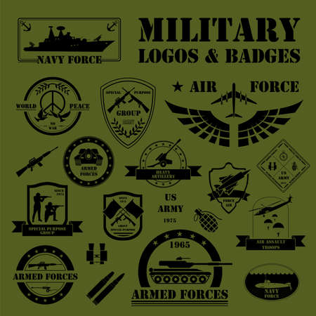 air force: Military and armored vehicles logos and badges. Graphic template. Vector illustration