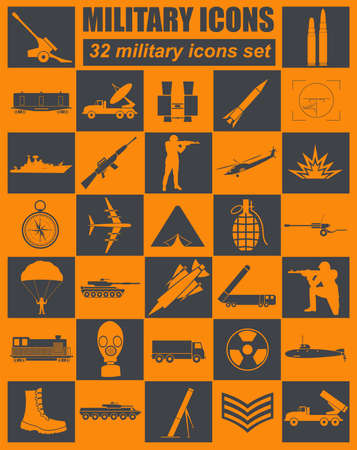 agression: Military icon set. Constructor, kit. Vector illustration Illustration