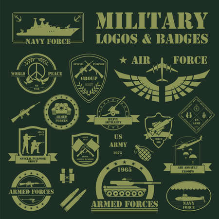 insignias: Vehículos militares y blindados logotipos e insignias. Gráfico de la plantilla. Ilustración vectorial Vectores