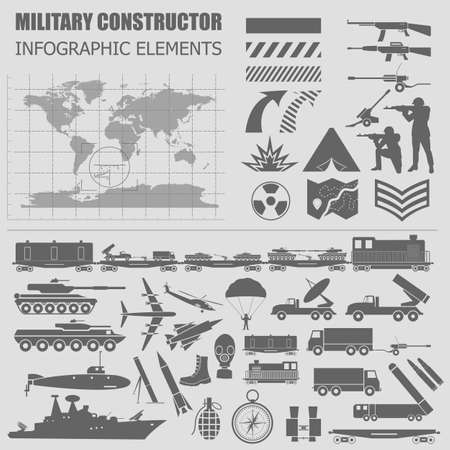 machine gun: Military infographic template. Vector illustration with Top powerful militaries ranking. World nuclear powers map. Interesting facts about world wars. Constructor. Template with place for text
