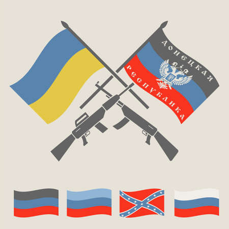 conflict: Ukraine and Russia military conflict graphic template. DNR, LNR, New Russia and Ukraine flags.  Constructor. Vector illustration