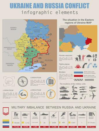 conflicto: Ucrania y Rusia conflicto militar plantilla infografía. Situación en la región oriental de datos Ucrania map.Statistical de desequilibrio militar. Constructor. Ilustración vectorial Vectores