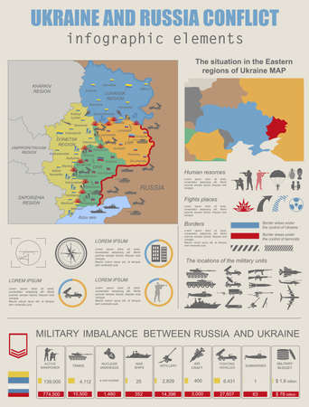 military and war icons: Ukraine and Russia military conflict infographic template. Situation in the eastern region of Ukraine map.Statistical data of military imbalance. Constructor. Vector illustration