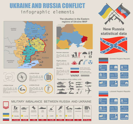 imbalance: Ukraine and Russia military conflict infographic template. Situation in the eastern region of Ukraine map.Statistical data of military imbalance. Constructor. Vector illustration