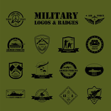Military and armored vehicles logos and badges. Graphic template. Vector illustration