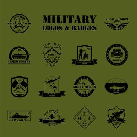insignia: Vehículos militares y blindados logotipos e insignias. Gráfico de la plantilla. Ilustración vectorial Vectores