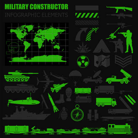military aircraft: Military infographic template. Vector illustration with Top powerful militaries ranking. World nuclear powers map. Interesting facts about world wars. Constructor. Template with place for text