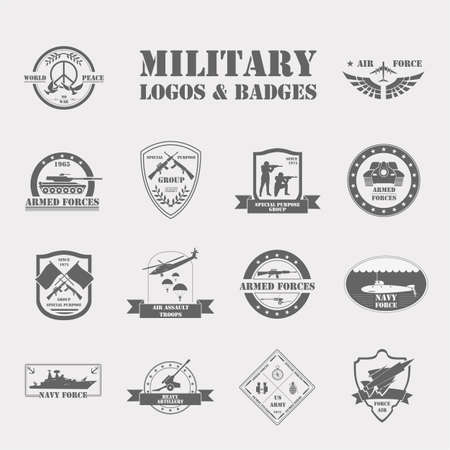 armed: Military and armored vehicles logos and badges. Graphic template. Vector illustration