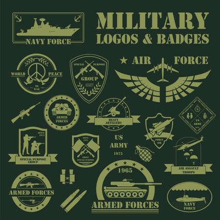 tanque de guerra: Vehículos militares y blindados logotipos e insignias. Gráfico de la plantilla. Ilustración vectorial Vectores