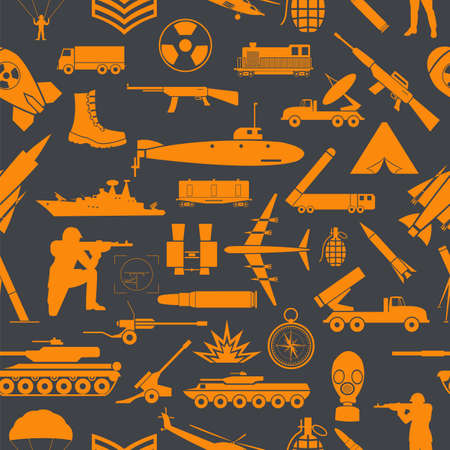armored: Military background. Seamless pattern. Military elements, armored vehicles. Vector illustration