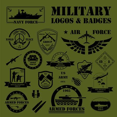 Militaire en gepantserde voertuigen logo's en badges. Grafische template. Vector illustratie Stockfoto - 44520213