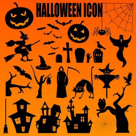 Icono de Halloween establecido. Diseño de vacaciones. Ilustración del vector. Foto de archivo - 45065624
