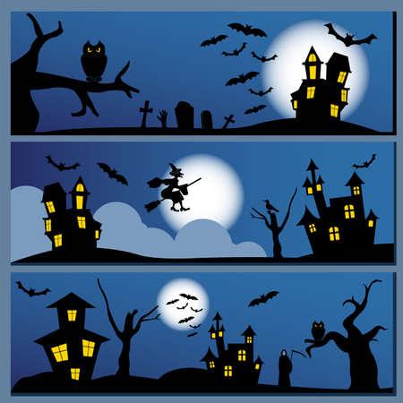 brujas caricatura: Conjunto de banner de Halloween. Diseño de vacaciones. Ilustración del vector.