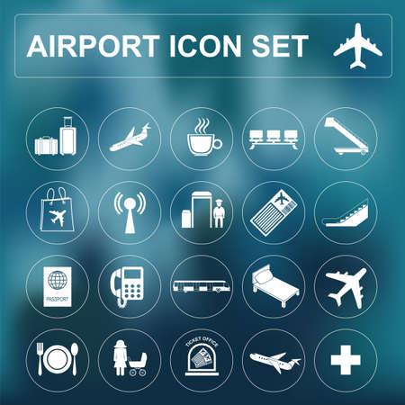 air travel: Airport, air travel icon set. illustration