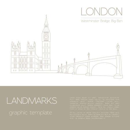 World landmarks. London. United Kingdom.Westminster Abbey, the Bridge, Big Ben. Graphic template. Logos and badges. Linear design. Vector illustration Illustration