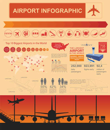 airport terminal: Airport, air travel infographic with design elements. Infographic template with statistical data. Vector illustration