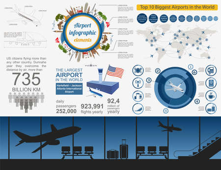 controlling: Airport, air travel infographic with design elements. Infographic template with statistical data. Vector illustration