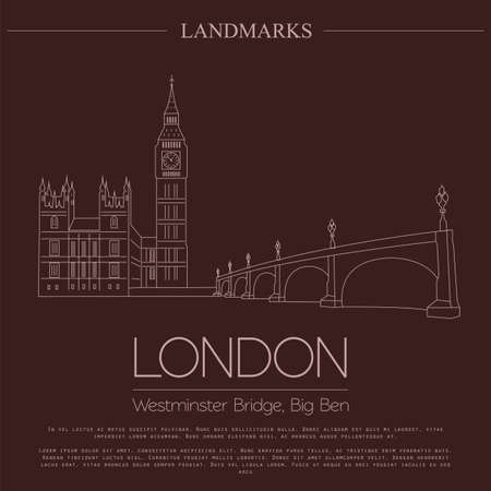 westminster abbey: World landmarks. London. United Kingdom.Westminster Abbey, the Bridge, Big Ben. Graphic template. Logos and badges. Linear design. Vector illustration Illustration