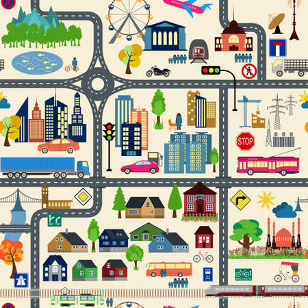 for example: City map generator. City map example. Elements for creating your perfect city. Colour version. Seamless pattern. Vector illustration Illustration