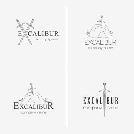 Excalibur outline Insignias and Logotypes set. Vector design elements, business signs, logos, identity, labels, badges and objects. Sword of King Arthur