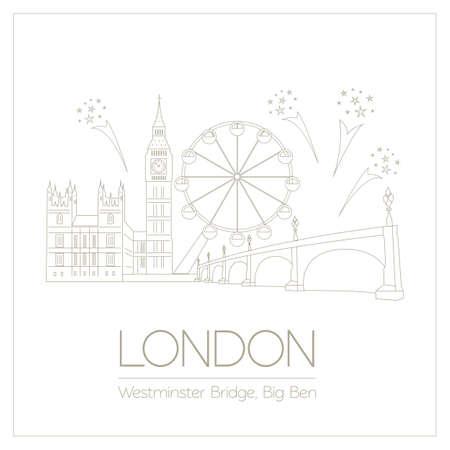 abbey: World landmarks. London. United Kingdom.Westminster Abbey, the Bridge, Big Ben. Graphic template. Logos and badges. Linear design. Vector illustration Illustration
