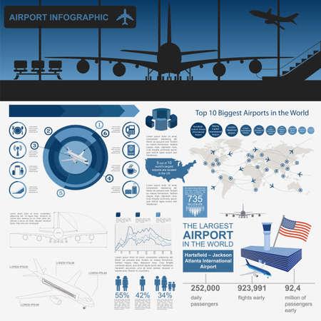 transporte: Aeropuerto, infografía viajes en avión con elementos de diseño. Plantilla Infografía con los datos estadísticos. Ilustración vectorial