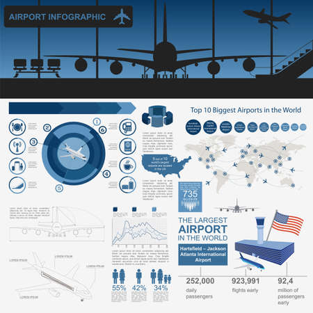 terminals: Airport, air travel infographic with design elements. Infographic template with statistical data. Vector illustration