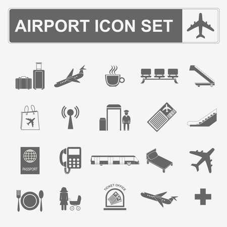 air travel: Airport, air travel icon set. Vector illustration