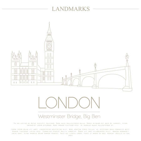 westminster abbey: World landmarks. London. United Kingdom.Westminster Abbey, the Bridge, Big Ben. Graphic template. Logos and badges. Linear design. Vector illustration Illustration