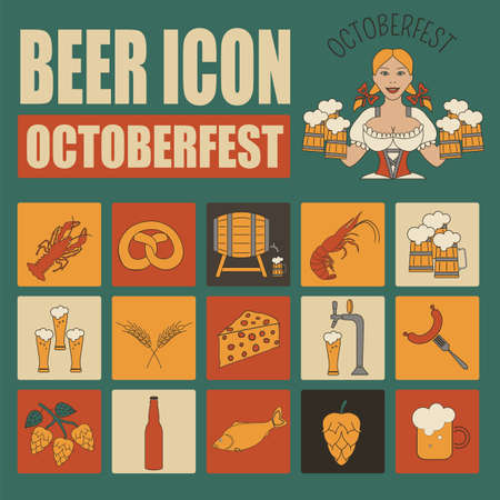 beer bottle: Beer icon set. Logos and badges template. Linear style. Octoberfest. Vector illustration