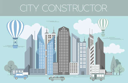 constructor: Great city map creator. Colour version. House constructor. House, cafe, restaurant, shop, infrastructure, industrial, transport, village and countryside. Make your perfect city. Vector illustration Illustration