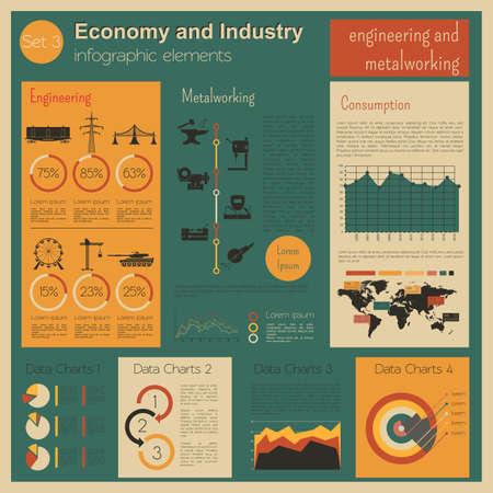 industriales: Economía e industria. Ingeniería y metalmecánica. Plantilla infografía industrial. Ilustración vectorial
